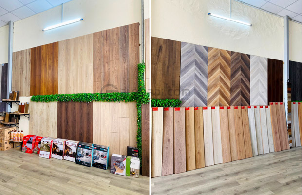 Khu vực trưng bày sàn gỗ, phụ kiện thi lắp đặt