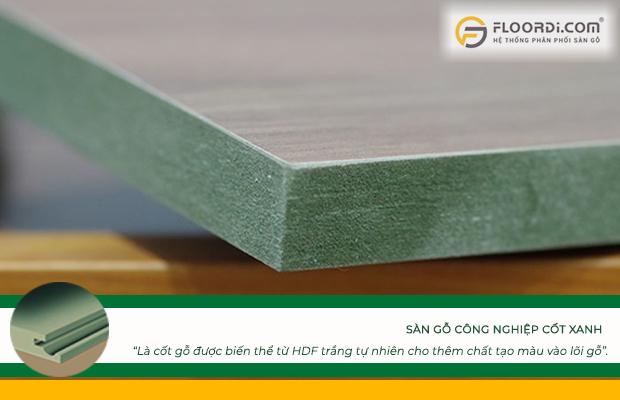 Sàn gỗ cốt xanh là cốt gỗ được biến thể từ HDF trắng