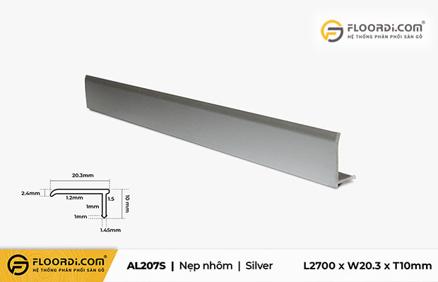 Nẹp F sàn gỗ dùng để kết thúc mối nối ở các vị trí góc tường, cửa ra vào