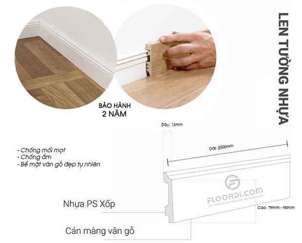 cấu tạo len nhựa chân tường