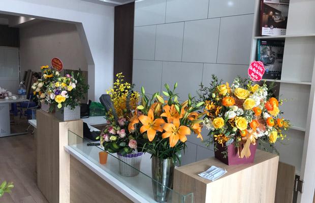 Hoa mừng khai trương showroom long biên