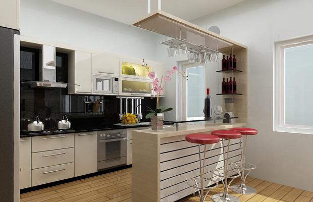 Không gian bếp làm từ gỗ công nghiệp MFC