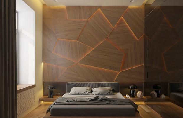 Ốp tường gỗ theo hình khối phá cách