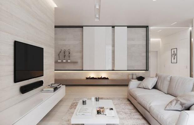 Sàn gỗ ốp tường màu trắng pha