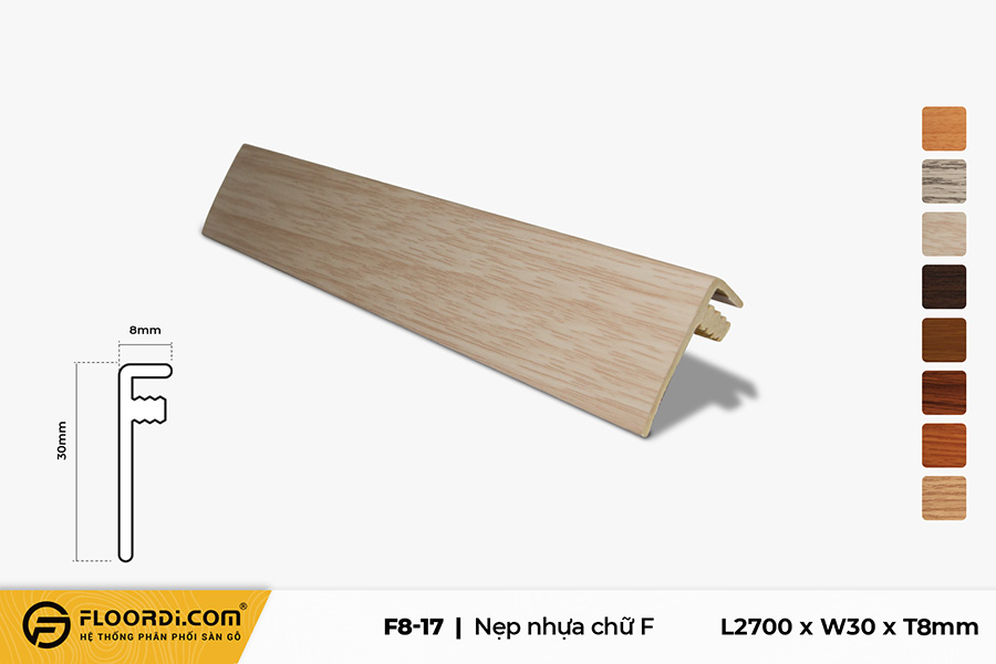 Nẹp chữ F - F8-17 - Wood Grain -  8mm
