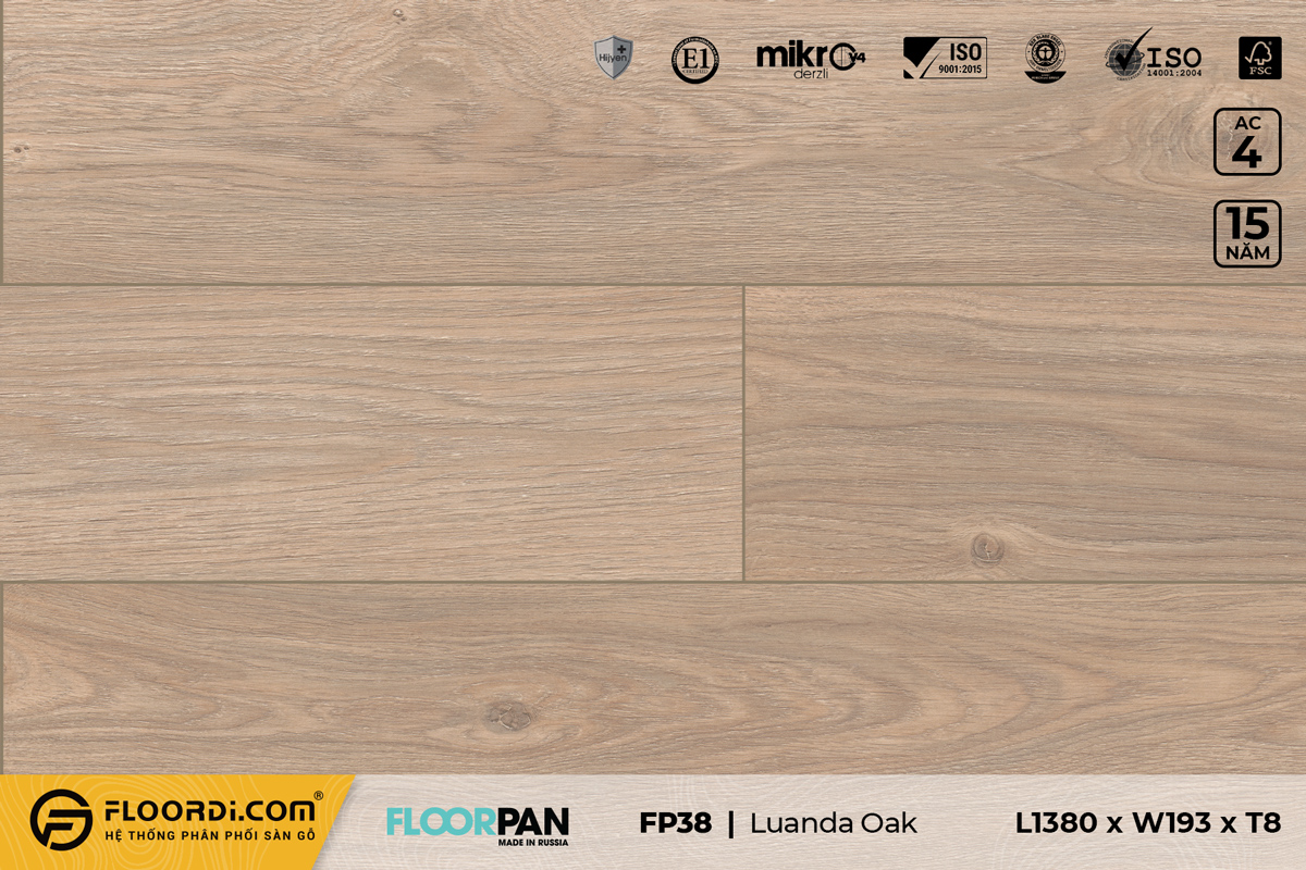 Sàn gỗ FP38 Luanda Oak - 8mm - AC4