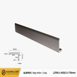 Nẹp nhôm L -  AL207GR - Grey - 10mm