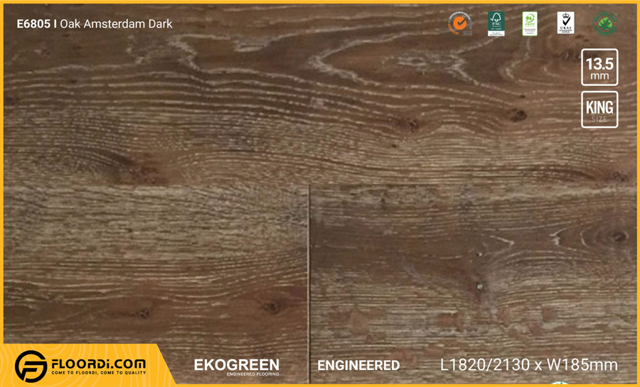 Sàn gỗ Engineered E6805 Oak Amsterdam Dark 13.5mm