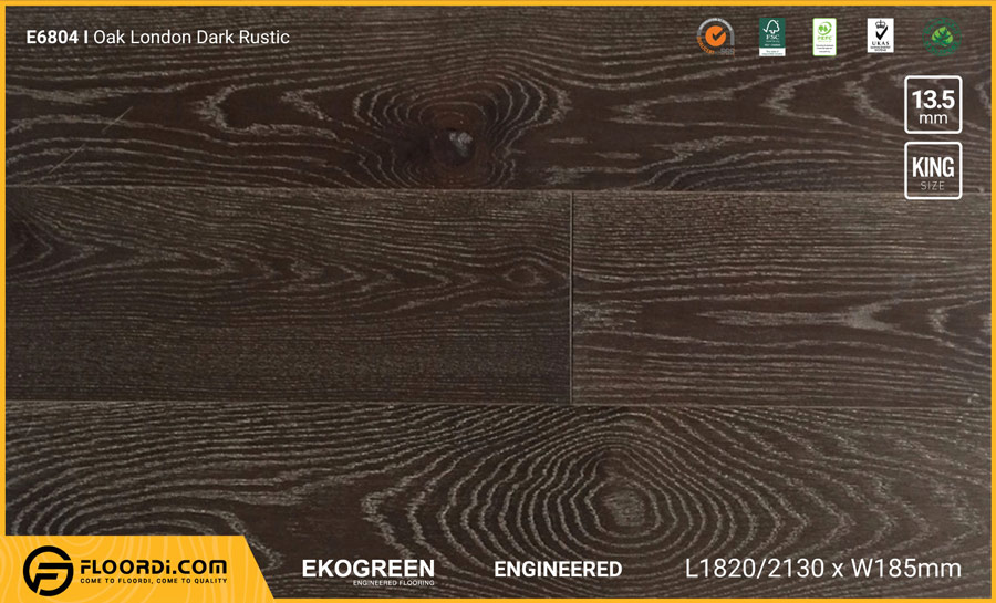 Sàn gỗ sồi Engineered Ekogreen E6804 Oak London Dark Rustic