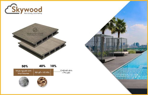 Cấu tạo sàn gỗ nhựa ngoài trời Skywood